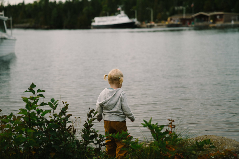 Child with pigtails near a lake.