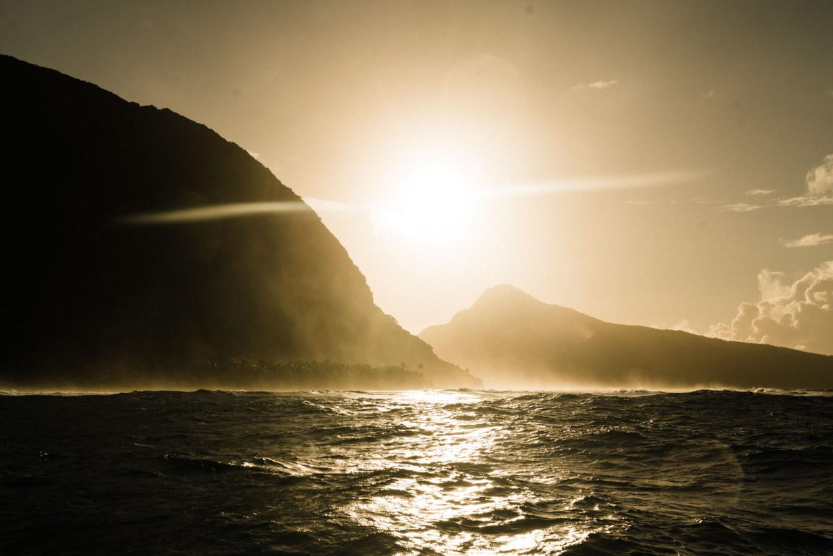 sunrise over the island of ofu in the national park of american samoa
