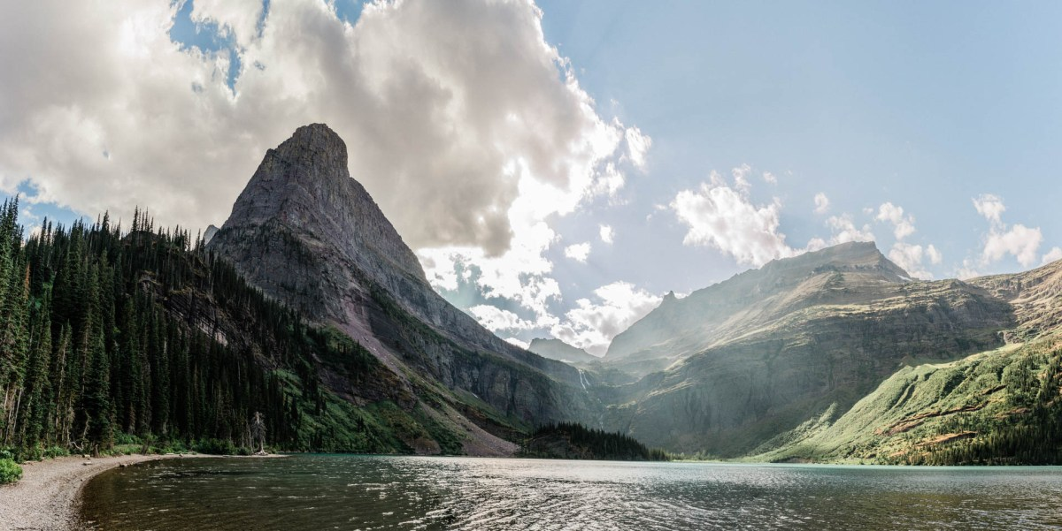 view of grinell lake and grinell glacier in glacier national park