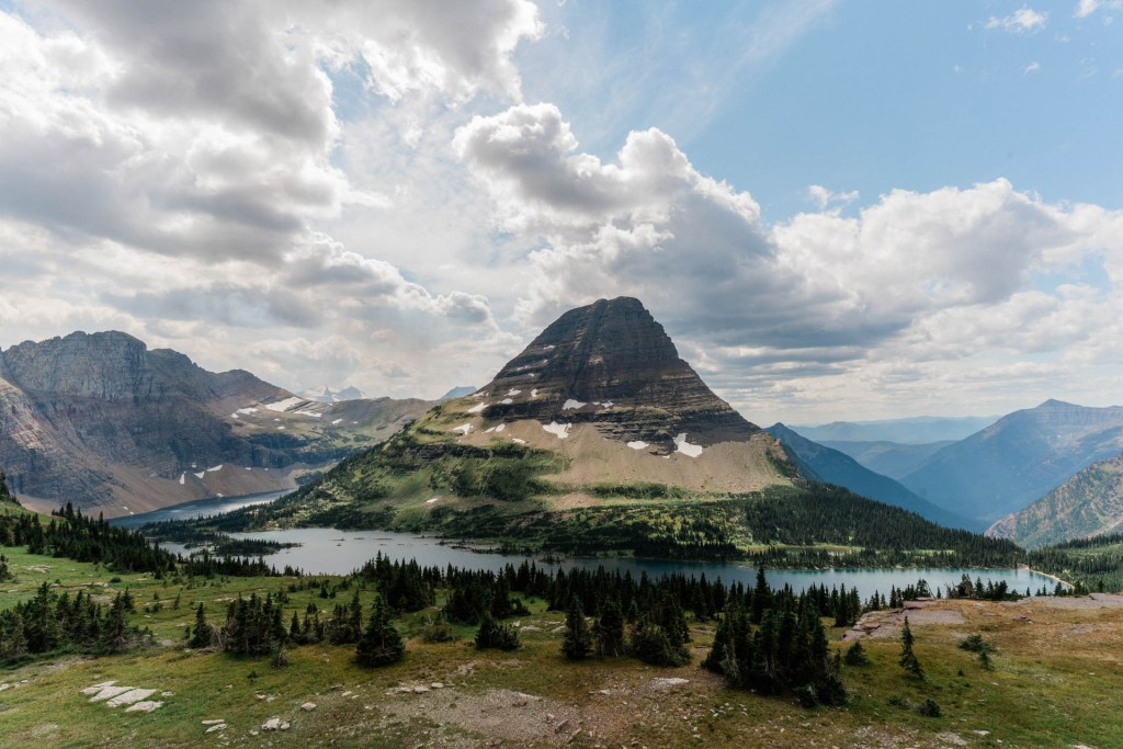 a view of hidden lake in glacier national park