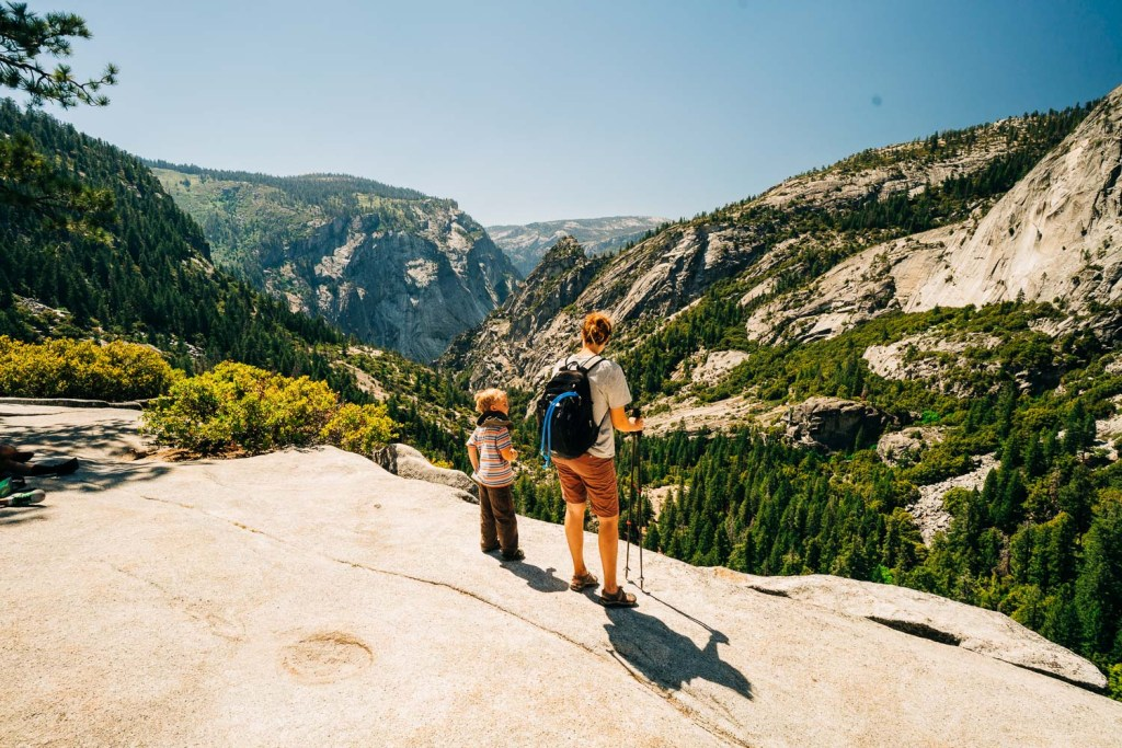 family with kids hiking in yosemite national park
