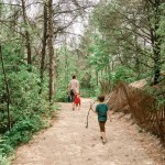 family hiking with kids on dune succession trail in indiana dunes national park