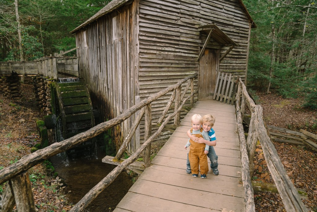 kids in cades cove in great smoky mountains