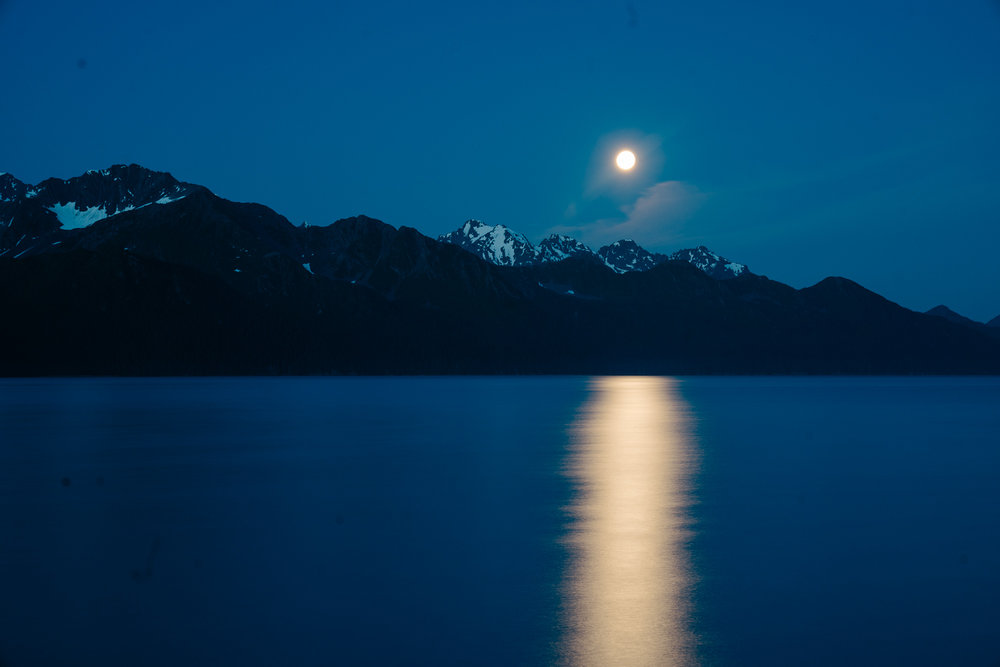 The fact that David was awake to take a picture of the moon rising in Alaska in July is testament to the fact that we stay up Way Too Late.
