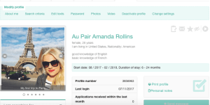 american fille au pair world profile