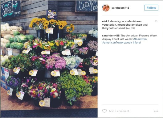 Unbeknownst to us, at least one Whole Foods store in the Baltimore created their on American Flowers Week promotion