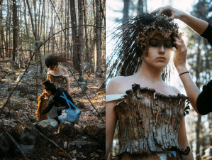 two views of april holmes botanical couture dress
