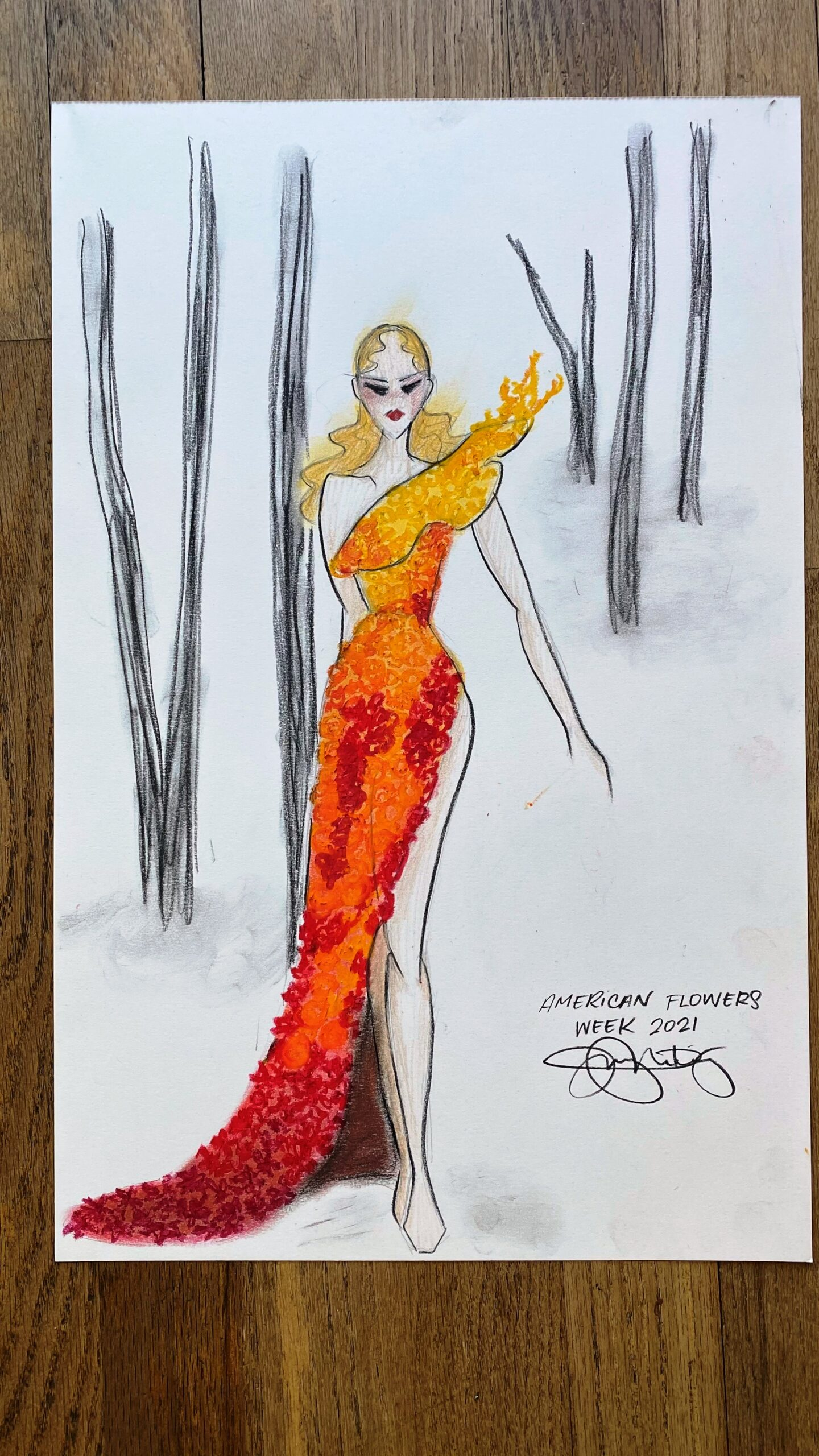 Jenny M Diaz sketch for botanical couture