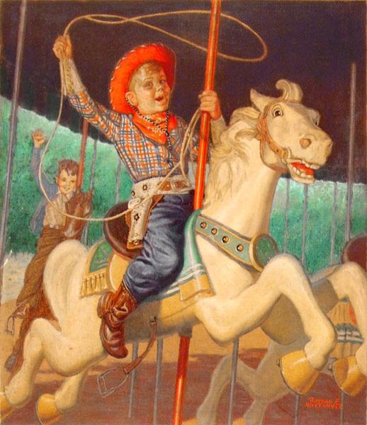 Boy Riding Carousel Horse Dressed As Cowboy