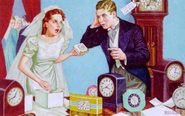 Newlyweds Receive Many Clocks As Wedding Gifts