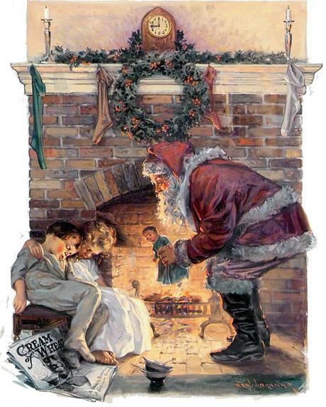 Santa Claus Bending Over Boy And Girl Asleep