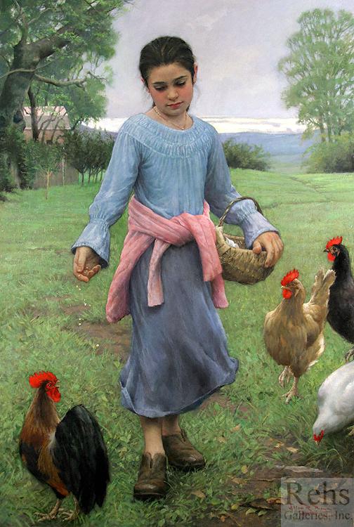 Girl Feeding Her Chickens