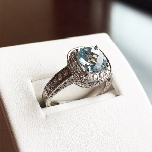Aquamarine and diamond ring from Mitchener-Farrand Jewelers.