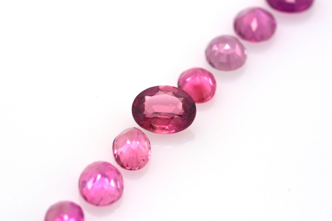 red and pink tourmaline gemstones