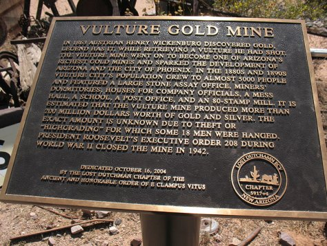 Historic Marker at Vulture Mine - the story of vulture mine