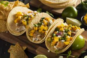 Homemade baja fish tacos made with industrial steam griddle technology