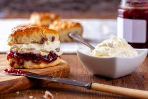 Scones with Strawberry Jam and Clotted Cream
