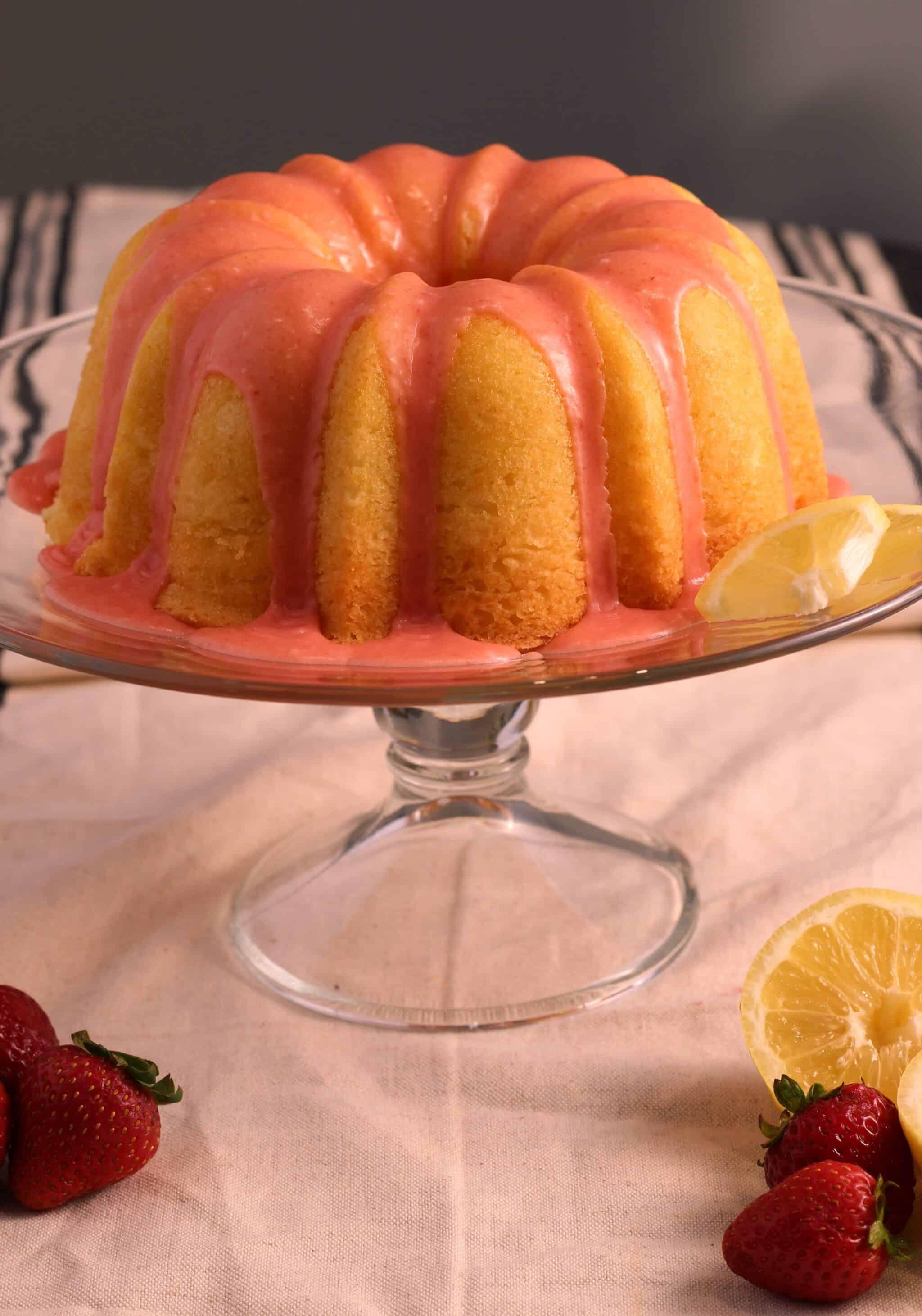 Lemon Pound Cake With Fresh Strawberry Icing American