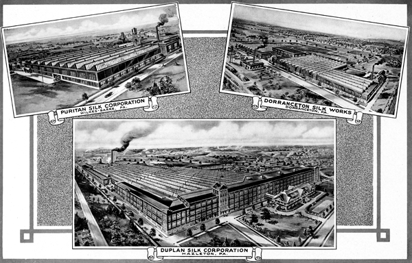 Collage of three photos showing three textile mills