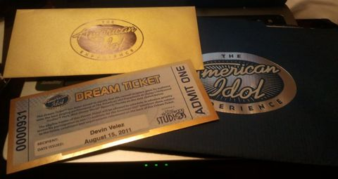 Devin Velez's American Idol ticket