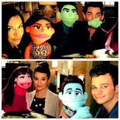 Adam Lambert on Glee with puppets