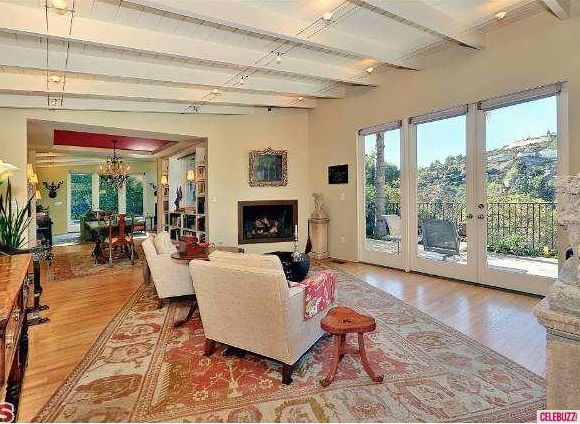 Hollywood Hills home living room day