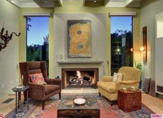 Hollywood Hills home fireplace