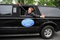 Caleb Johnson rides in the American Idol limo