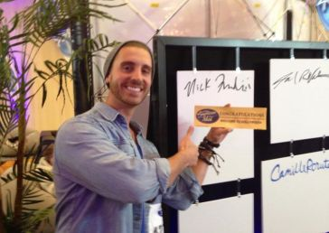 Nick Fradiani shows off his Golden Ticket
