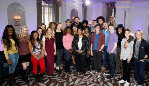 American Idol 2015 semifinalists with Aretha Franklin
