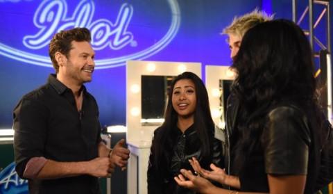 Ryan Seacrest talks with American Idol Hopefuls
