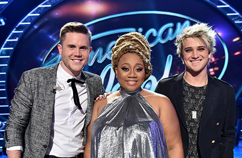 AMERICAN IDOL: Top 3 Revealed: L-R: Contestants Trent Harmon, La'Porsha Renae and Dalton Rapattoni on AMERICAN IDOL airing Thursday, March 31 (8:00-10:00 PM ET/PT) on FOX. © 2016 FOX Broadcasting Co. Cr: Michael Becker/ FOX. This image is embargoed until Thursday, March 31,10:00PM PT / 1:00AM ET