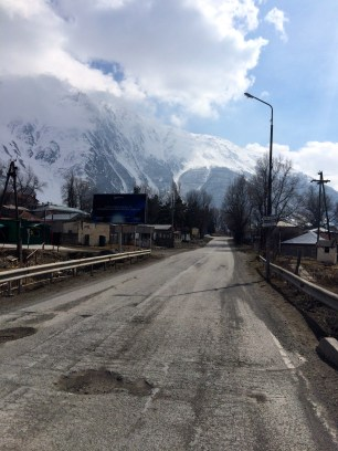 Walking through Kazbegi to start our trek to the church.