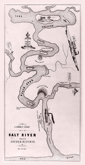 Cartoon map of Salt River showing its hazards and un-navigability(Courtesy Library of Congress))