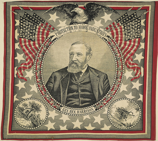 Textile touting the presidential candidacy of Benjamin Harrison (Courtesy Cornell University via Flickr Commons)
