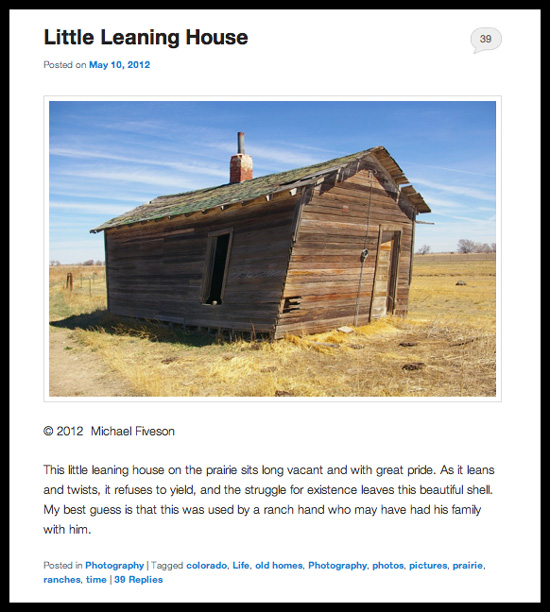 A representative page from the blog Mike's Look at Life