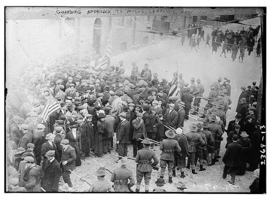 The 1912 textile strike in Lawrence (Courtesy of the Library of Congress via Flickr Commons)