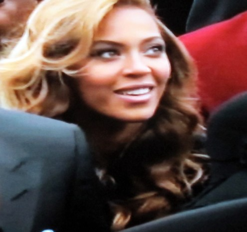 Beyonce leaving the inauguration, where she performed the national anthem (Photograph of PBS coverage)