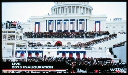 The inaugural was held on the west front of the Capitol (Photograph of PBS coverage)