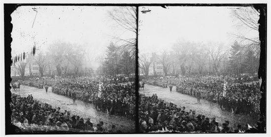 Alexander Gardner, Stereographic view of the crowd at Lincoln's Second Inauguration, March 4, 1865 (Courtesy of the Library of Congress) Lincoln's Inaugural Parade (1865)