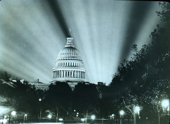 The U.S. Capitol at night (Courtesy of the District of Columbia Public Library via the Commons on Flickr)