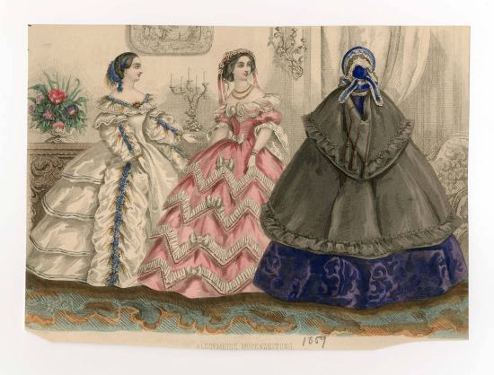 Fashion plate from the 1850s