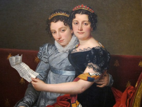 "Detail of Jacques-Louis David's ""The Sisters Zénaïde and Charlotte Bonaparte,"" at The Getty Center Los Angeles."