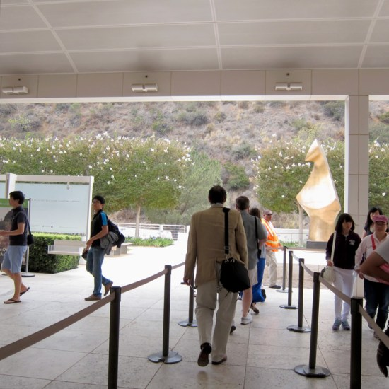 Visitors to the Getty Center in the tram pavilion.