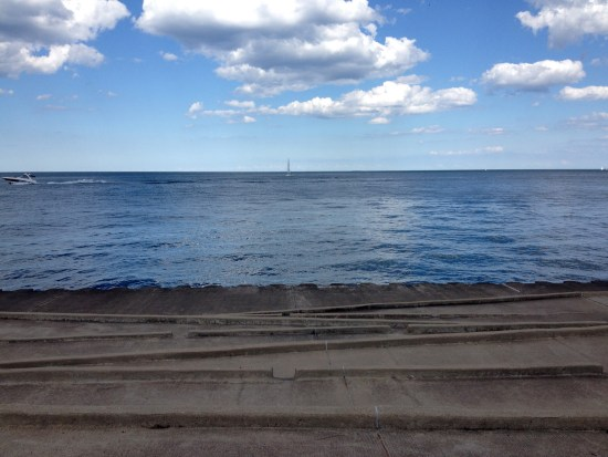 Lake Michigan, as seen from the terraced shore near the Barry underpass in Chicago.