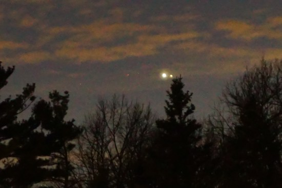 The moons of Jupiter extend in a line to the left. New Buffalo, MI.