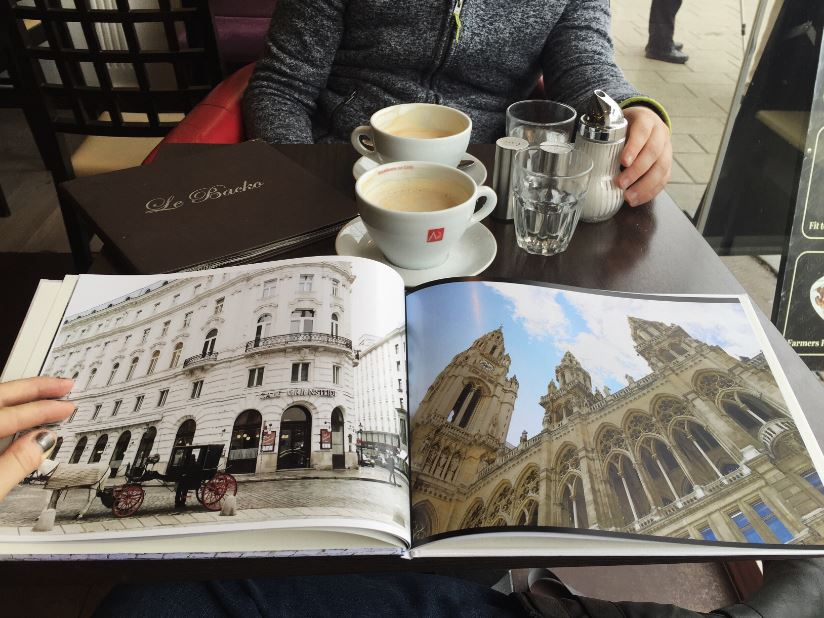 A wonderful gift to highlight your life in Europe is a photo book from Snapfish UK. I got to enjoy a good cup of coffee at Le Backo last weekend with my husband, talking about life and looking at photos of my first year in Vienna.
