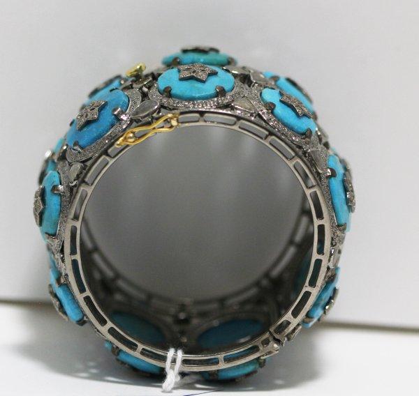 Wide Turquoise Diamond Bracelet side view