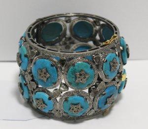 Wide Turquoise Diamond Bracelet main view