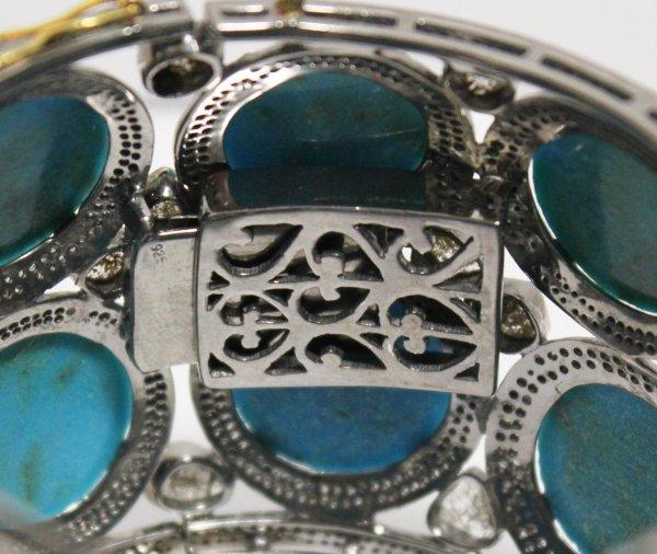 Wide Turquoise Diamond Bracelet marking